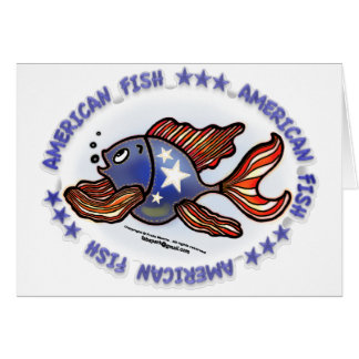 AMERICAN FISH, RED WHITE BLUE FISH CARD