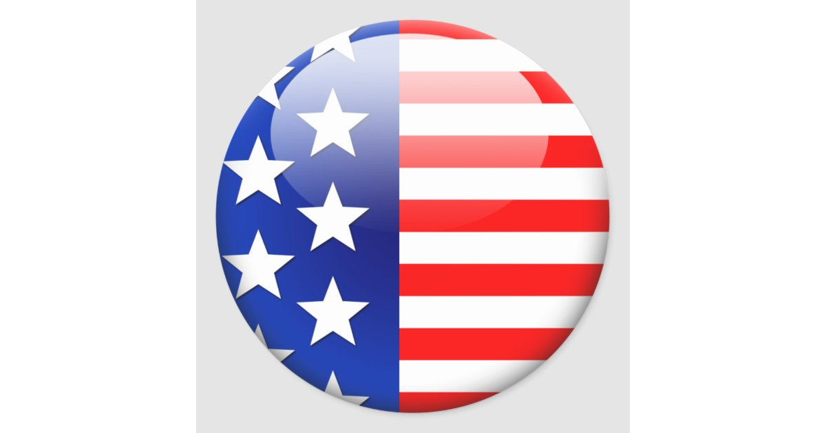 American flag 2 0 classic round sticker zazzle com au