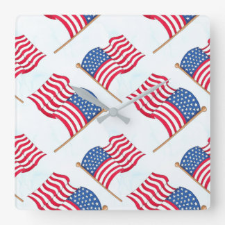 American Flag 4th Of July Red White Blue Square Wall Clock