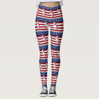 American Flag 4th of July Red White Blue Unicorn Leggings