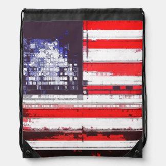 American Flag Abstract Drawstring Backpack