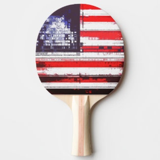 American Flag Abstract Ping Pong Paddle
