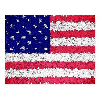 American Flag Abstract Postcard