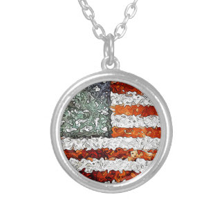 American Flag Abstract Round Pendant Necklace