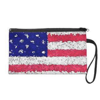 American Flag Abstract Wristlet Purses