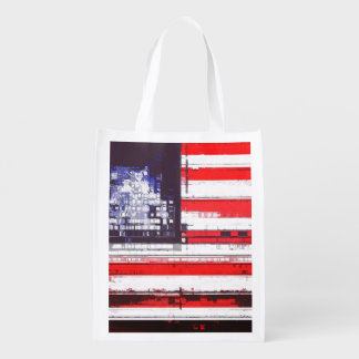 American Flag Abstract Reusable Grocery Bags