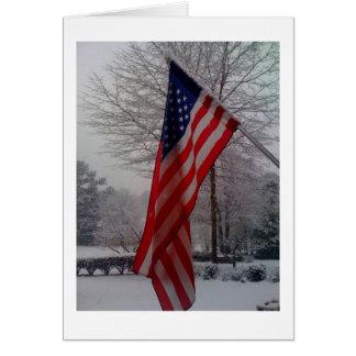 American Flag after snowfall Card