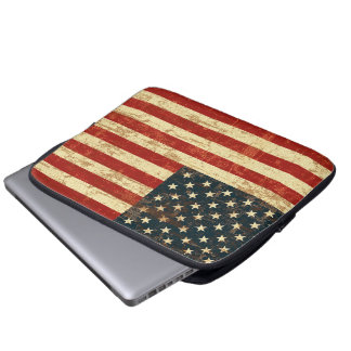 American Flag Aged Distressed Laptop Computer Sleeves