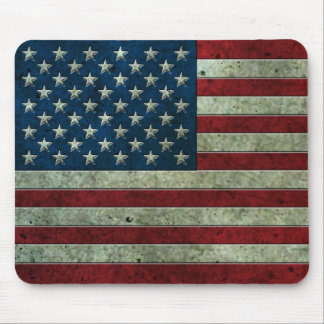 American Flag Aged Steel Effect Mouse Pad