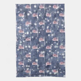 American Flag Aglow, star spangled pattern Kitchen Towel
