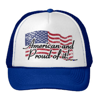 American Flag - American and Proud of it! - dis Mesh Hats