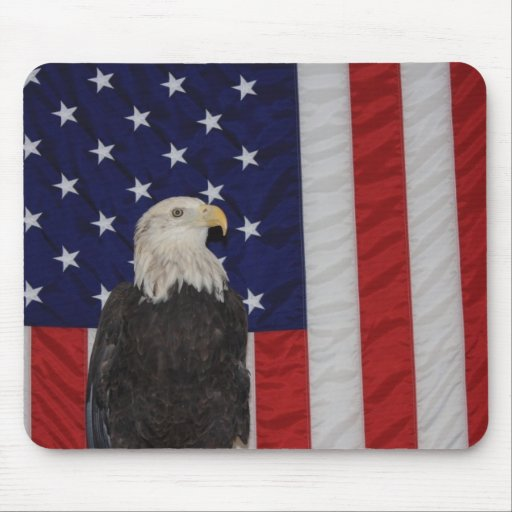 American Flag and Bald Eagle, Freedom Mouse Pad