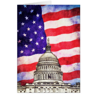 American Flag And Capitol Building Greeting Card