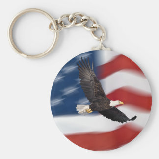 American flag and eagle basic round button key ring