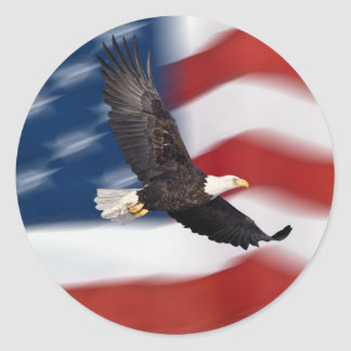 American flag and eagle round sticker