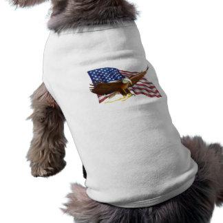 American Flag and Eagle Sleeveless Dog Shirt