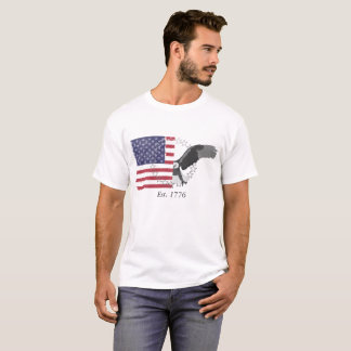 American flag and eagle split T-Shirt