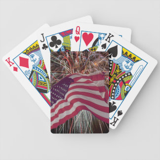 American Flag and Fireworks Bicycle Poker Deck