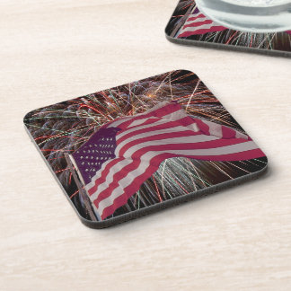 American Flag and Fireworks Coasters