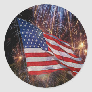 American Flag And Fireworks Design Round Sticker