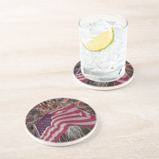 American Flag and Fireworks Drink Coasters