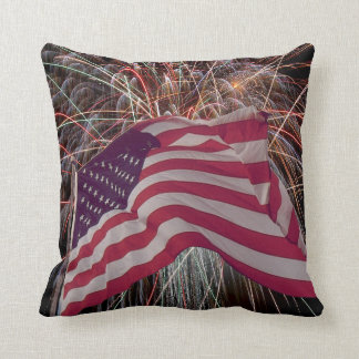 American Flag and Fireworks Pillow
