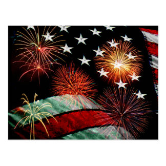 American flag and fireworks postcard