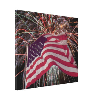 American Flag and Fireworks Stretched Canvas Print