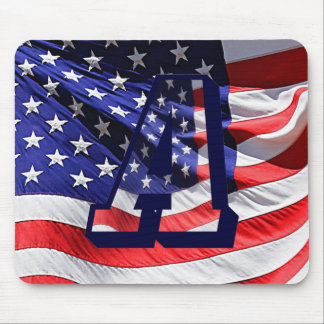 "American Flag and Letter ""A"" Mouse Pad"