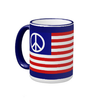 American Flag and Peace Sign Ringer Mug