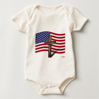 American Flag and Rugged Cross Baby Bodysuit