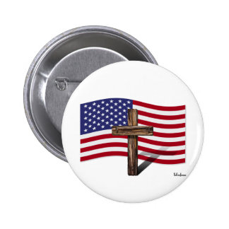 American Flag and Rugged Cross Pinback Button
