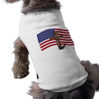 American Flag and Rugged Cross Dog Tshirt