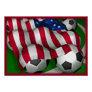 American Flag and Soccer Poster