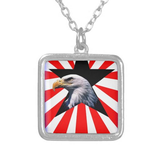 american flag and the Bald eagle Necklace