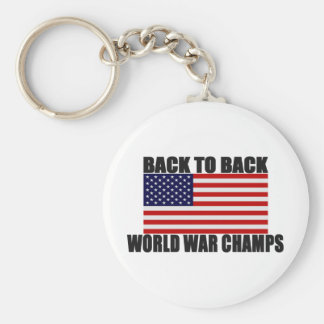 American Flag Back To Back World War Champs Key Ring