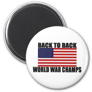 American Flag Back To Back World War Champs Refrigerator Magnet