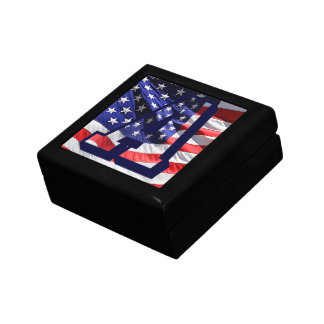 """American Flag Background & Letter """"A"""" Jewellery Small Square Gift Box"""