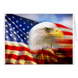 American Flag Bald Eagle Greeting Card