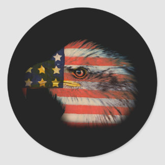 American Flag Bald Eagle Patriotic Classic Round Sticker
