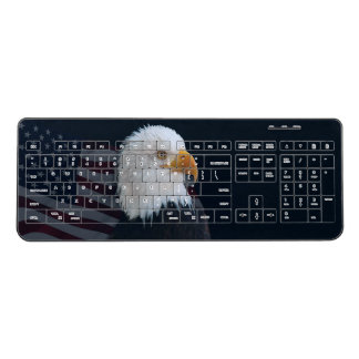 American Flag Bald Eagle Wireless Keyboard