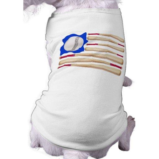 American Flag Baseball T-shirts Dog Tee