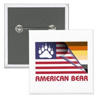 American Flag Bear Pride Paw 15 Cm Square Badge