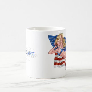 American Flag Bikini Pinup Girl by Al Rio Coffee Mug