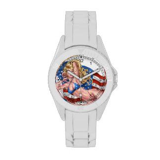 American Flag Bikini Pinup Girl by Al Rio Wristwatch