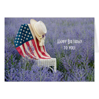 American Flag Birthday Greeting Card