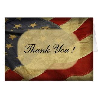 American Flag Blank Inside Thank You Card