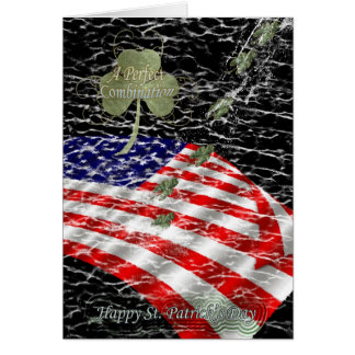 American flag blending with shamrock, St. Patrick' Greeting Card