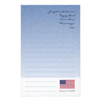 American Flag Blue Writing Paper