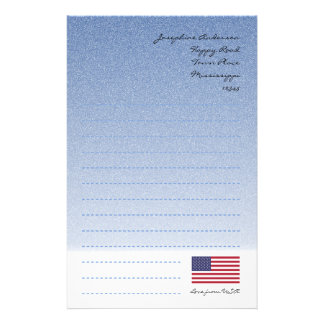 American Flag Blue Writing Paper Customized Stationery